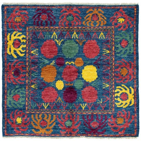 eCarpetGallery Hand-knotted Shalimar Blue Wool Rug - 5'4 x 5'0