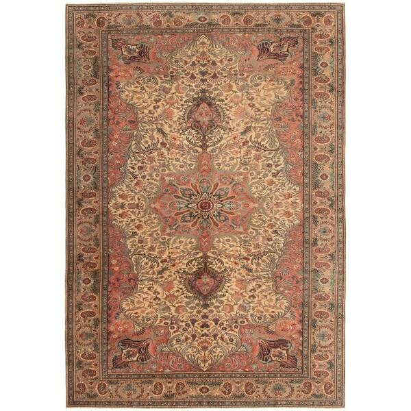 eCarpetGallery Hand-knotted Hereke Copper, Ivory Wool Rug - 6'7 x 9'9