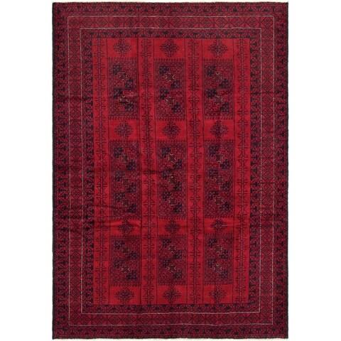 eCarpetGallery Hand-knotted Rizbaft Dark Red Wool Rug - 6'6 x 9'4