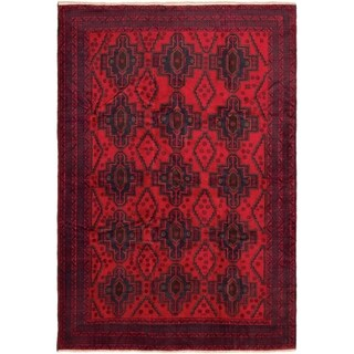 eCarpetGallery  Hand-knotted Finest Rizbaft Red Wool Rug - 6'8 x 9'9