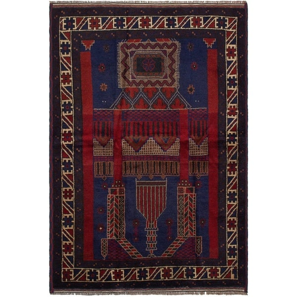 eCarpetGallery Hand-knotted Rizbaft Navy Blue, Red Wool Rug - 4'4 x 6'5