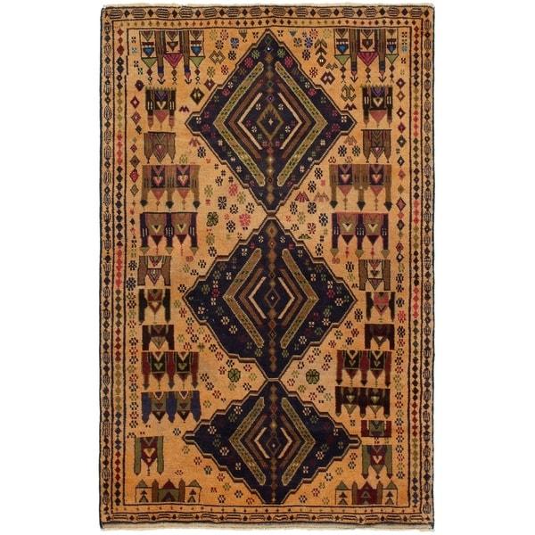 eCarpetGallery Hand-knotted Rizbaft Beige Wool Rug - 3'8 x 6'1