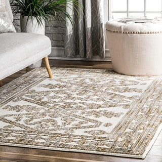 The Curated Nomad SoMa Transitional Faded Mayan Geo Border Print Area Rug
