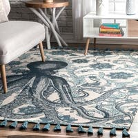 The Curated Nomad Seacliff Blue Cotton Thomas Paul Octopus Area Rug