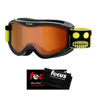 Bolle AMP Junior Snow Goggles (Black Robot Frame, Vermillon Lens) and Cloth Kit