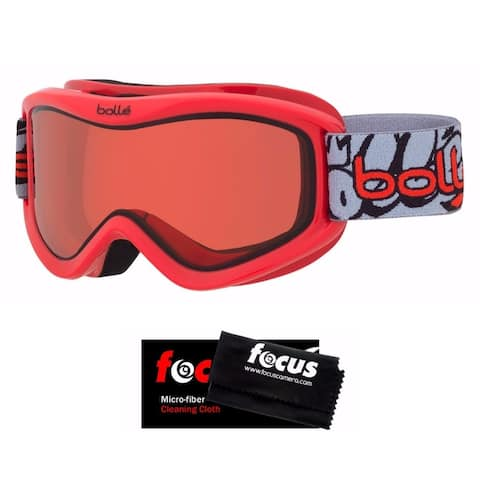 Bolle Volt Snow/Ski Goggles (Red Grafitti) and Cleaning Cloth Kit