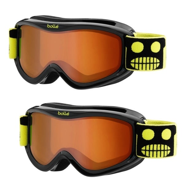 Bolle AMP Youth/Junior Snow Goggles, 2-Pack (Black Robot Frame, Vermillon Lens)