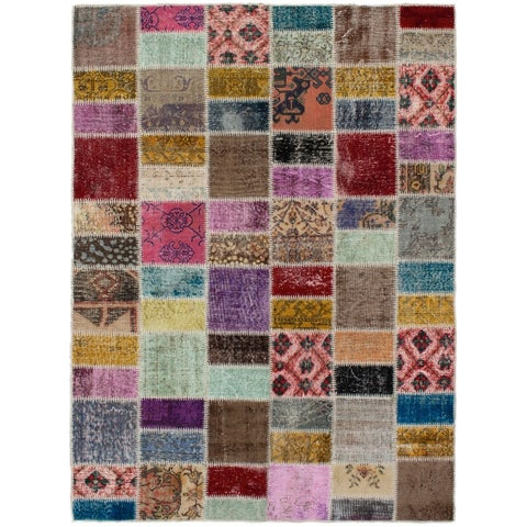 eCarpetGallery Hand-knotted Color Transition Patch Brown Wool Rug - 5'8 x 7'8