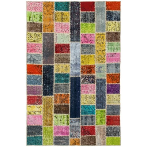 eCarpetGallery Hand-knotted Color Transition Patch Grey, Olive Wool Rug - 5'2 x 7'11