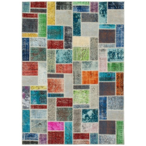 eCarpetGallery Hand-knotted Color Transition Patch Grey Wool Rug - 5'9 x 8'0
