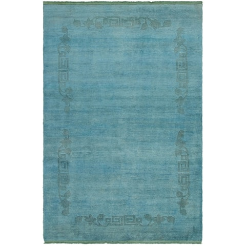 Hand-knotted Color transition Sky Blue Wool Rug