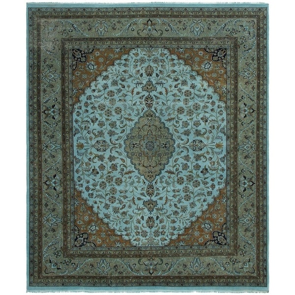 eCarpetGallery Hand-knotted Color transition Light Blue Wool Rug - 8'3 x 9'9
