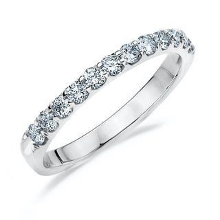1/2 CT Prong Set Stackable Lab Grown Diamond Ring in White Gold, E-F /VS