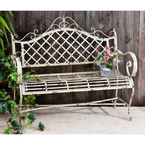 "Iron Garden Bench ""Stephania"" in Antique White"