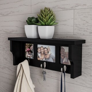 Wall Shelf and Photo Collage with 3 Hanging Hooks by Lavish Home