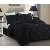 5 piece Pintuck King Comforter set, Black