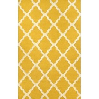 Gold Ivory Trellis Pattern Wool Area Rug
