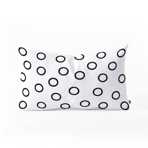 Deny Designs Black and White Circles Reversible Oblong Throw Pillow (2 Sizes)
