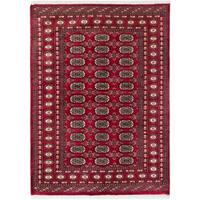 eCarpetGallery  Hand-knotted Finest Peshawar Bokhara Dark Red Wool Rug - 4'1 x 5'9