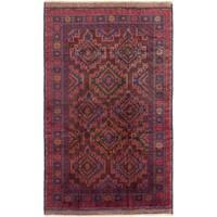 eCarpetGallery  Hand-knotted Finest Rizbaft Dark Red Wool Rug - 5'1 x 8'2