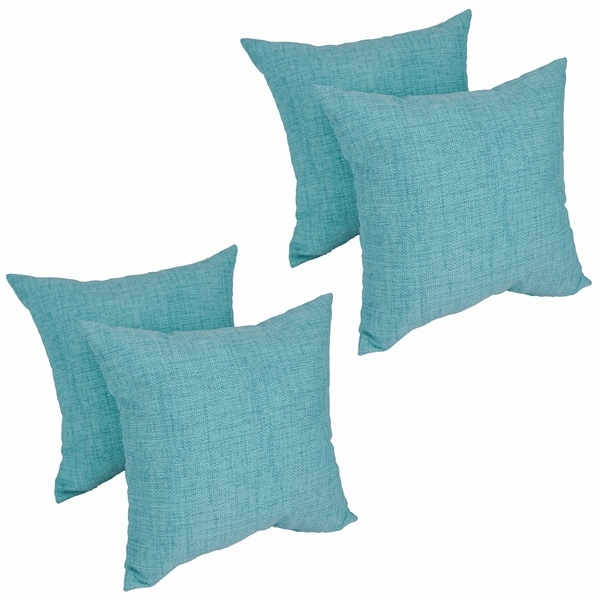 Shop Solarium Aqua 17-inch Indoor Outdoor Throw Pillows (Set of 4) - Free  Shipping Today - Overstock - 26387268 82ec22a59
