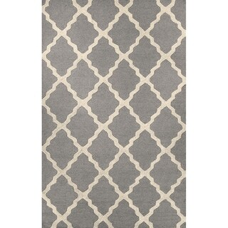 Silver Ivory Trellis Pattern Wool Hand Tufted Area Rug