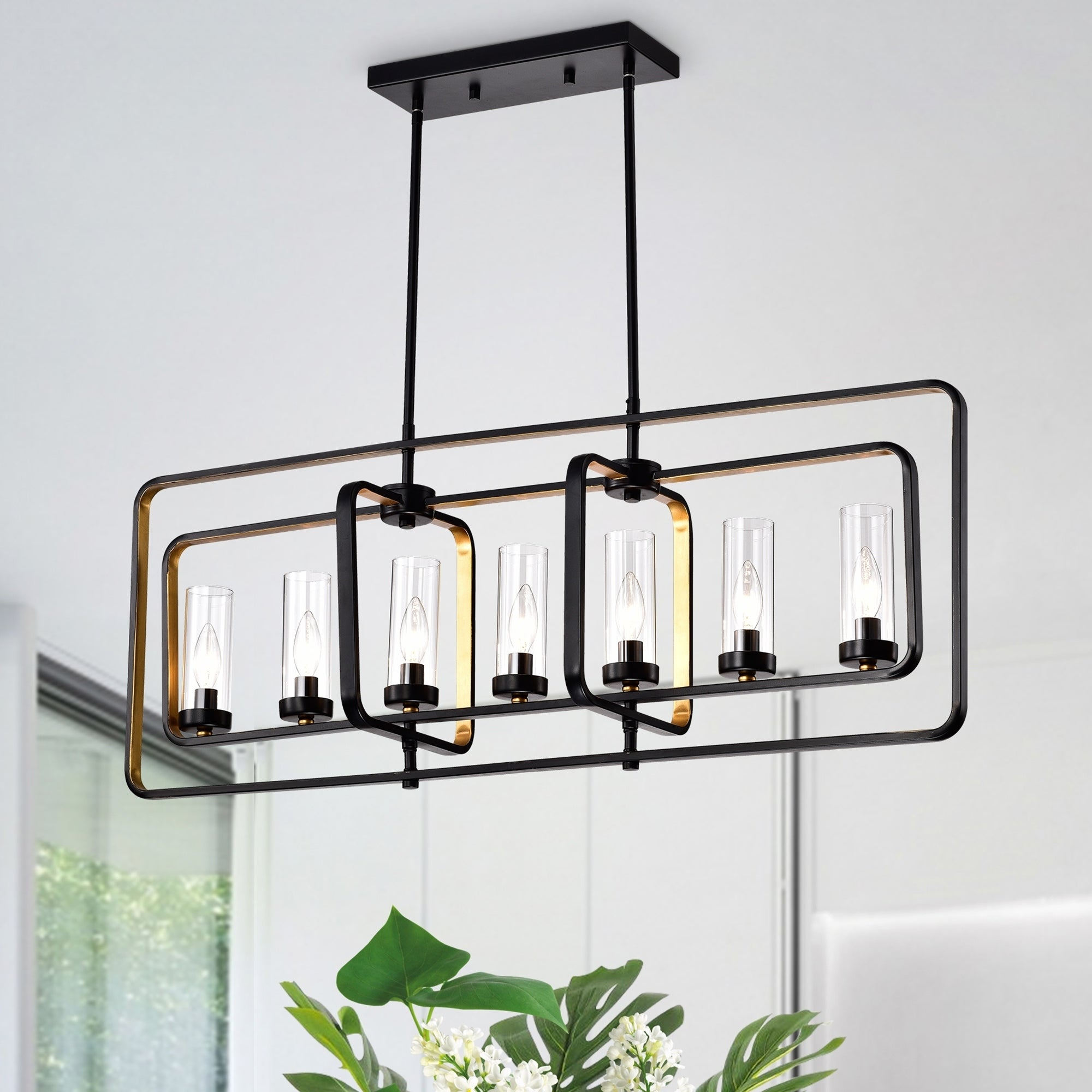 Shop Black Friday Deals On Belline Matte Black Gold 7 Light Chandelier With Glass Pillar Shades On Sale Overstock 26387290