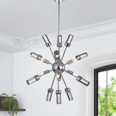 Jimnu Chrome 25-inch Sputnik Style Chandelier with Seeded Glass Tipped Batons