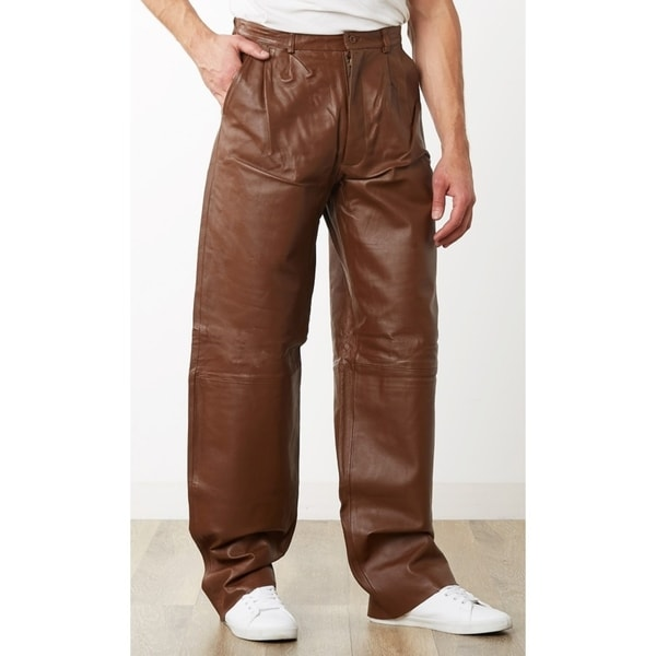 Men's Caramel Brown Leather Dress Pants
