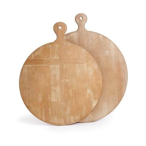 Antique Round Whitewash Cutting Boards Set of 2