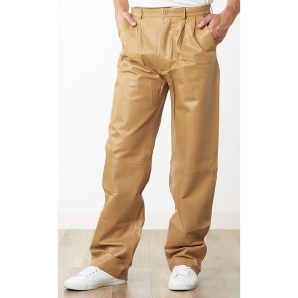 6db7990dbdbb Shop Men's Tan Leather Dress Pants - Free Shipping Today - Overstock ...