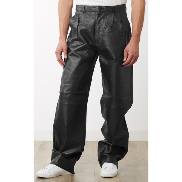 Men's Black Leather Dress Pants