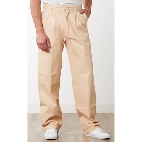 Men's Cream Leather Dress Pants