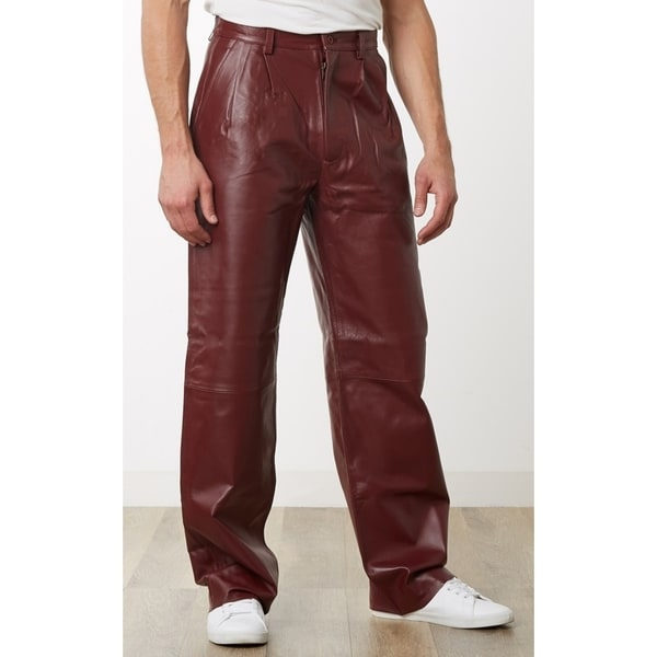 3f1275aa2296 Shop Men's Burgundy Leather Dress Pants - Free Shipping Today ...