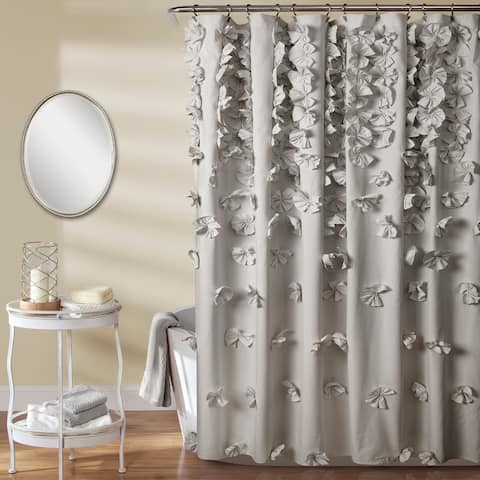 Silver Orchid Sterling Polyester Shower Curtain