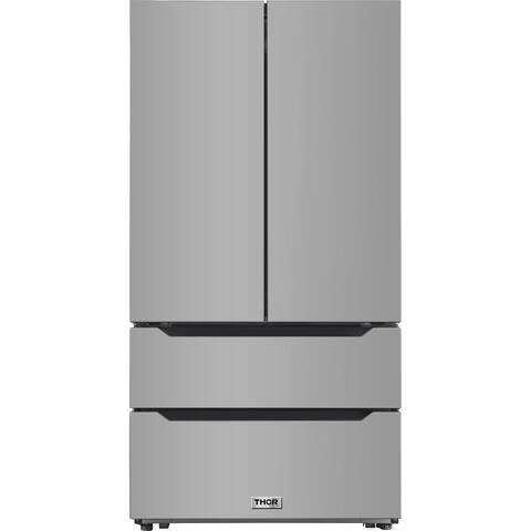 Thor Kitchen - 22.5 cu. ft. 4-Door French Door Refrigerator with Recessed Handle in Stainless Steel, Counter Depth