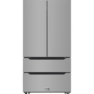 Thor Kitchen - 22.5 cu. ft. 4-Door French Door Refrigerator with Recessed Handle in Stainless Steel, Counter Depth