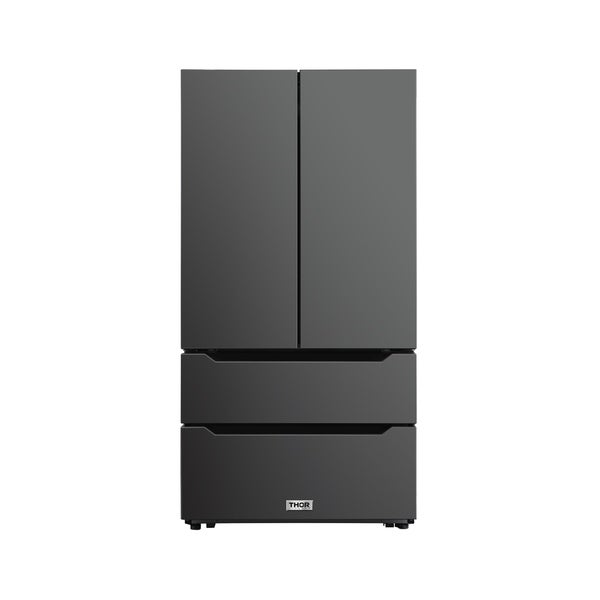 Thor Kitchen 22.5 cu. ft. 4-Door French Door Refrigerator with Recessed Handle in Black Stainless Steel, Counter Depth