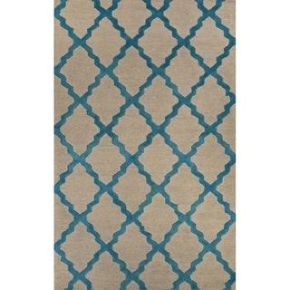 Beige Turquoise Trellis Pattern Wool Area Rug