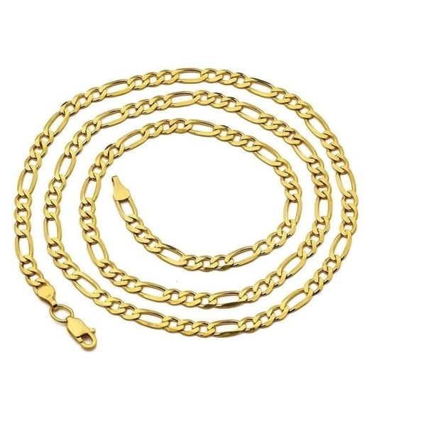 """14k Yellow Solid Gold Figaro Chain Necklace Italy Link 3.4mm Unisex 20/"""" 22/"""" 24/"""""""