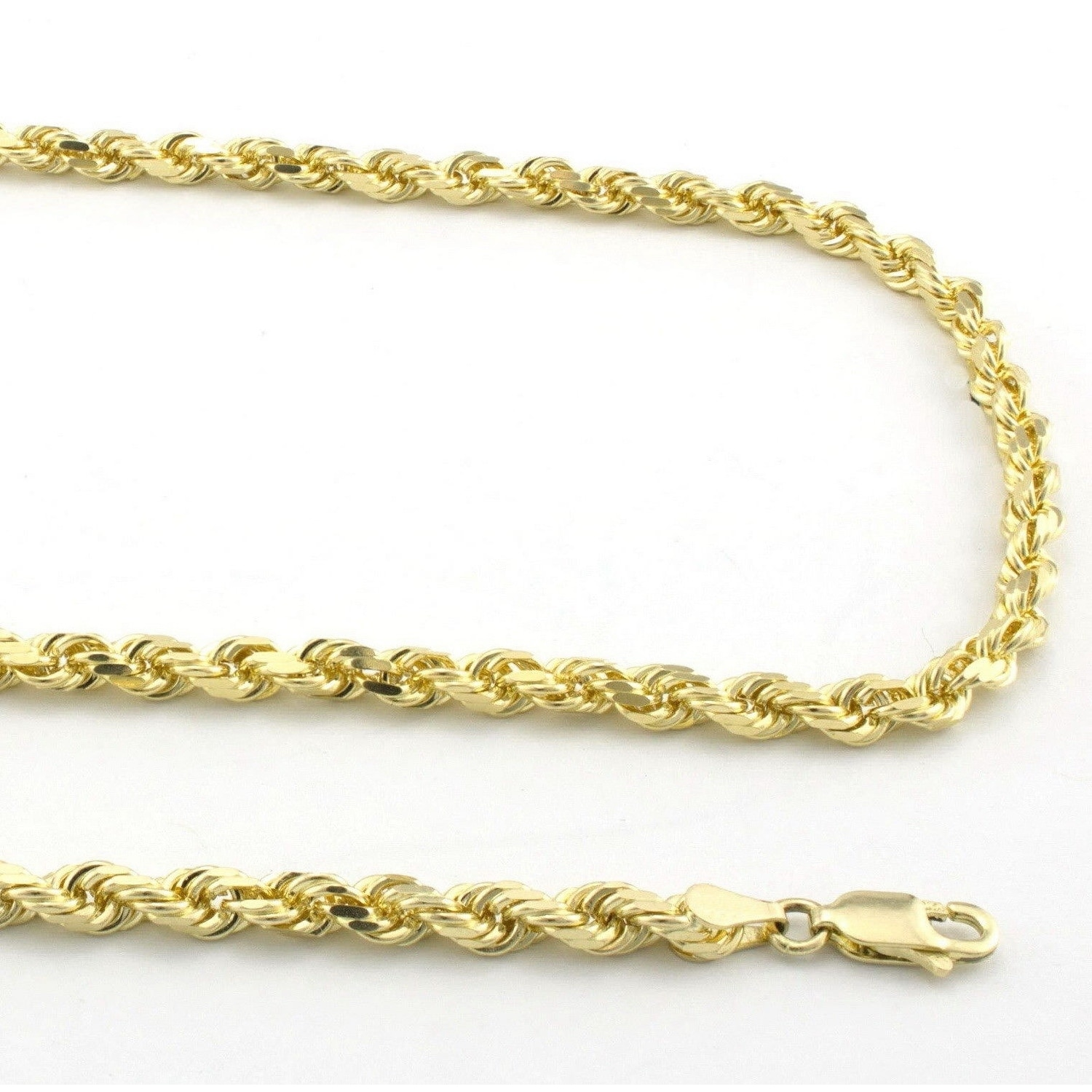 14K Yellow Gold Rope Chain Solid Necklace Pendant Diamond Cut Mens Women