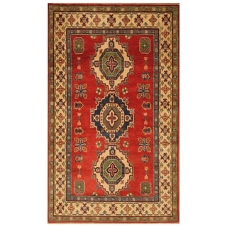 Handmade Kazak Wool Rug (Afghanistan) - 4' x 6'8