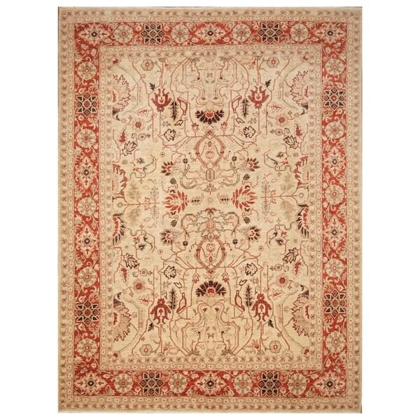 Handmade Vegetable Dye Oushak Wool Rug (Afghanistan) - 8'10 x 11'8