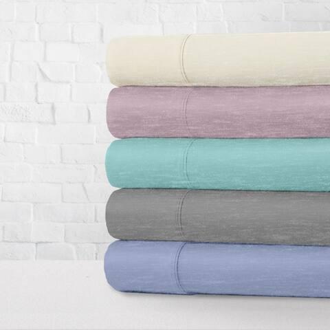 Heather Jersey Knit 4-Piece Bed Sheet Set