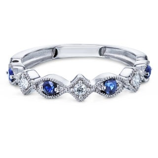 Annello By Kobelli 10k White Gold 1 5ct Tw Alternating Sapphire And Diamond Patterned Fashion Stackable Ring