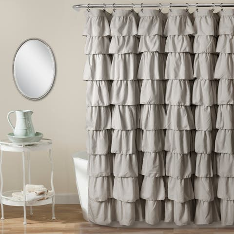 Lush Decor Ruffled Solid Color Shower Curtain