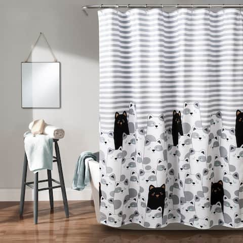Lush Decor Stripe Bear Shower Curtain