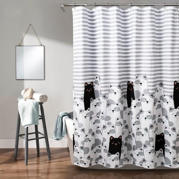 Lush Decor Stripe Bear Shower Curtain