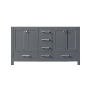 "Exclusive Heritage 60"" Double Sink Bathroom Vanity Base in Cashmere Grey from the Colette Collection"