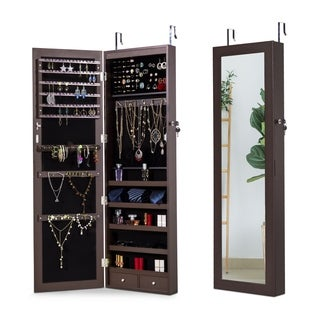 Jewelry Cabinet 6 LEDs Jewelry Armoire Lockable Wall Door Mounted Jewelry Cabinet Organizer Bedroom, Living Room (Espresso)